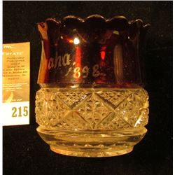 """J.A. Crawford"", ""Omaha 1898"" from the 1898 Exposition, Ruby Red Flash Glass Toothpick Holder, one-l"