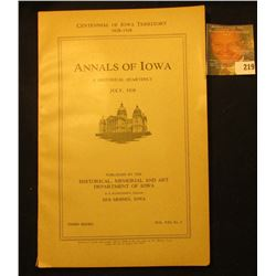 """Centennial of Iowa Territory 1838-1938 Annals of Iowa A Historical Quarterly July, 1938"", complete"