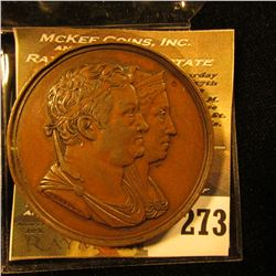 Nov. 7, 1825 50th Anniversary Bronze High Relief Medal of Carl August Louise. EF.