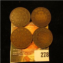 1881H Fine, 1882H VG, 1887 VG, & 1917 Fine Canada Large Cents.