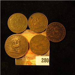 (5) Old Canada Bank Tokens dating from 1844-1854. One is holed.
