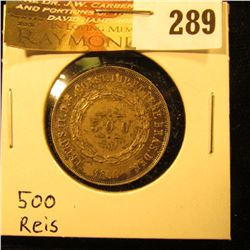1860 Republic of the United States of Brazil, Silver 500 Reis, toned EF.