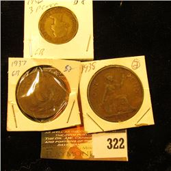 1937 Great Britain 1/2 Penny, 1938 Penny & 1956 3 Pence.