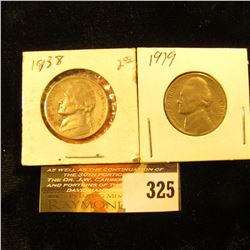 1938 P & 39 P Jefferson Nickels. F-VF.