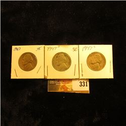 1947 P, D, & S Jefferson Nickels.
