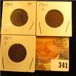 1904, 06, & 07  Indian Head Cents. Good.