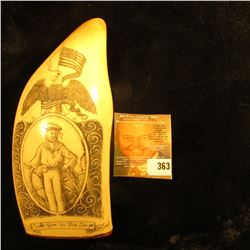 "Simulated Whale Tooth with engraving of a Sailor and Eagle with U.S. Flag ""Don't give us the Ship""."