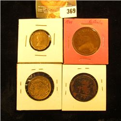1966 Great Britain Three Pence, BU; 1944 Large Penny, Brown Unc; 1798 Unidentified Copper Coin; & 18