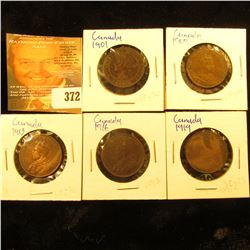 1901, 09, 13, 16, & 1919 Canada Large Cents. Fine to EF.