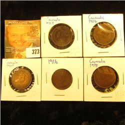 1901, 06, 07, 16, & 1918 Canada Large Cents. Fine to VF.