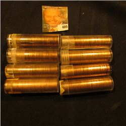 Solid Date BU Rolls of Lincoln Cents: 1955D, 61D, 63P, 64D, 68D, 68S, 69S, & 74P.