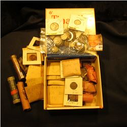 Tiparillo Cigar Box full of old coins in rolls, manila envelopes, and cardboard holders. Includes a