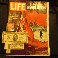 "October 10, 1969 ""LIFE"" with article ""A New Series Revolution""; Series 1934B Five Dollar Federal Res"