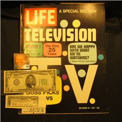 "September 10, 1971 ""LIFE"" with article ""Television The First 25 Years""; Series 1934A Five Dollar Fed"