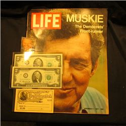 "November 5, 1971 ""LIFE"" Magazine with article ""Muskie The Democrats' Front-runner""; Series 1976 & Se"