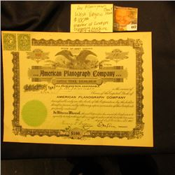 "September 14, 1905 Stock Certificate for 10 Share ""…American Planograph Company…State of West Virgin"