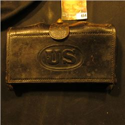 "Leather ""US"" embossed Civil War era Ammo Pouch."