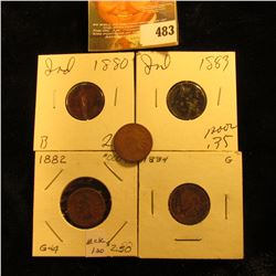 1880, 1882, 1883, 1884 & 1885 AG-G Indian Head Cents.