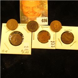 1880, 1882, 1883, 1884, 1887 & 1888 Indian head Cents. AG-VG.