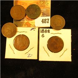 1880, 1882, 1883, 1884, 1888 & 1889 Indian Head Cents. AG-G.