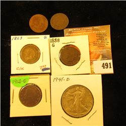 1863 Copper-nickel Good, 1880 Fair, 1888 Good, & 1890 Good Indian Head Cents; 1912 D Liberty Nickel
