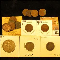 (4) 1880 Fair-AG, (2) 1888 Good, & (6) 1891 Indian Head Cents in Good; 1911 & 12 D Liberty Nickels;