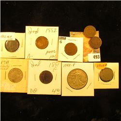 1882, 1888, 1889, 1890, 1891, & 1892 Indian Head Cents; 1911 & 12 D Liberty Nickels; & 1942 P World