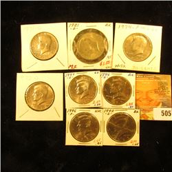 1971 D, 72 D, 74 P, 81 D, 93 D, 96 P, D, & 97 D Gem BU Kennedy Half Dollars, some are probably from