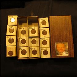 "3 1/4"" x 6 1/4"" double row Stock Box full of Lincoln Cents in holders. Coins date 1929 D-31."