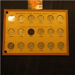 1943D, 44P, S, D, 45P, S, D, 46D, 47P, S, D, 48P, S, D, 49P & S Jefferson Nickels in an old Wayte Ra