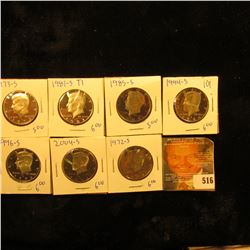 Proof Kennedy Half Lot Includes 1973-S, 1985-S, 2004-S, 1981-S Type 1, 1972-S, 1994-S, And 1996-S