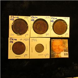 Chinese Cash Coins Lot Dated 1919, 1919, 1919, And 1920