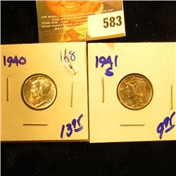 1941-S And 1940 Mercury Dimes. Brilliant Uncirculated.