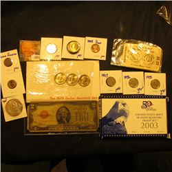 Hodgepodge Coin Lot Includes Square Wooden Nickel From The Wooden Nickel Museum, Colorized Pennsylva