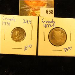 Canadian Coin Lot Includes 1872-H Quarter And 1931 Dime