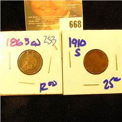 1910-S Wheat Penny Plus 1863 Cn Indian Head Penny