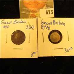 1838 British 2 Pence Silver Coin Plus 1844 Half Farthing,