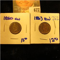 1860cn And 1863 Cn Indian Head Pennies