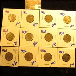 Buffalo Nickel Lot Includes 1929-S, 1921, 1935, 1921, 1935, 1936, 1934, 1923, 1937, 1935, 1921, And