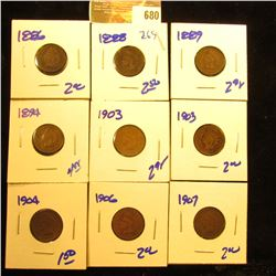 Indian Head Penny Lot Includes 1903, 1894, 1889, 1904, 1906, 1907, 1886, 1903, 1888, And 1988