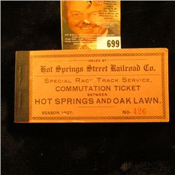 Special Race Track Service Commutation Ticket Between Hot Springs And Oak Lawn Issued By Hot Springs