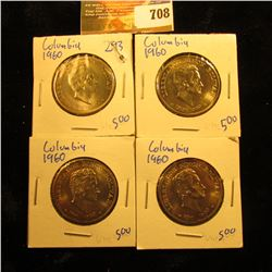 (4) Beautiful 1960 50 Centavos Coins From Columbia