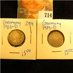 1919-D And 1916-D Silver German Half Mark Coins