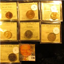 Graded Coins From ICCS.  Included In This Lot Is A British 3 Pence Coin Dated 1953 And Graded Ms65,