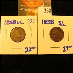 1858 Large Letters And 1858 Small Letters Flying Eagle Pennies