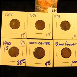 Off Center Penny, Blank Planchet, 3 1909 Wheat Pennies, And Key Date 1910-S Wheat Penny