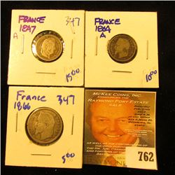 French Coin Lot Includes Silver 1847-A 50 Centimes, 1864-A 50 Centimes, And 1866 One Franc