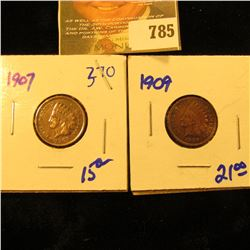 1909 And 1907 Indian Head Pennies With Liberty, Beads, And Diamonds Visible