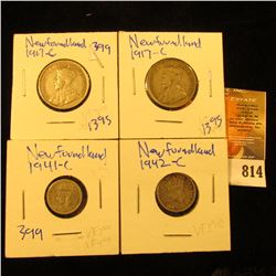 Newfoundland Coin Lot Includes 1941-C And 1942-C Silver 5 Cent Pieces.  It Also Includes Two 1917-C