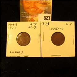 1873 Open & Closed 3 U.S. Indian Head Cents.